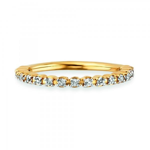 cai Ring 925/- Sterling Silber vergoldet Topas weiß