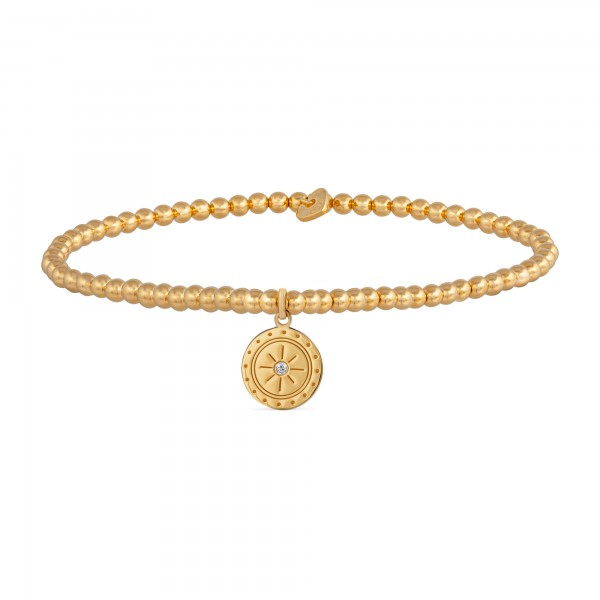 cai Stretch-Armband 925/- Sterling Silber vergoldet Mandala Münze