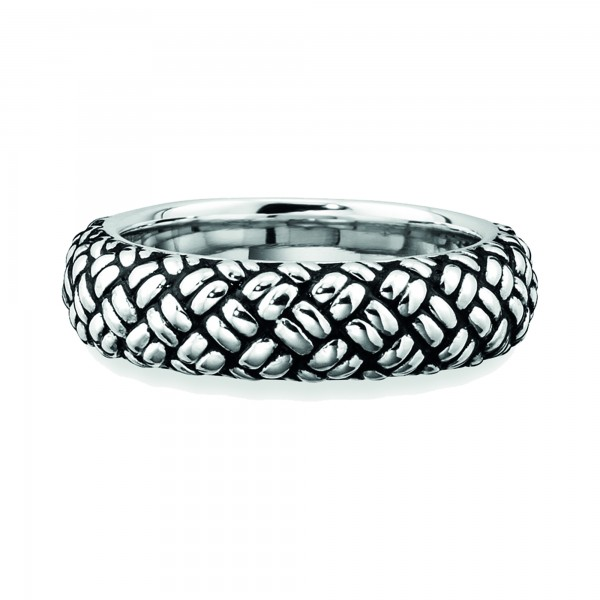 cai Ring 925/- Sterling Silber rhodiniert Struktur