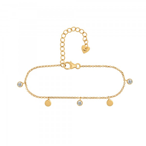 cai Armband 925/- Sterling Silber vergoldet Anhänger Plättchen Zirkonia
