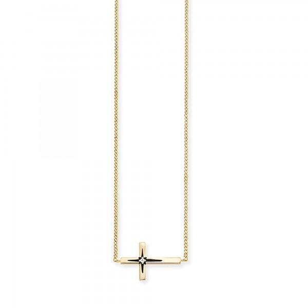cai Collier 925/- Sterling Silber vergoldet Zirkonia Kreuz