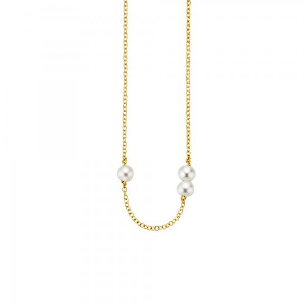 cai Collier 925/- Sterling Silber vergoldet 3 Süßwasserzuchtperlen