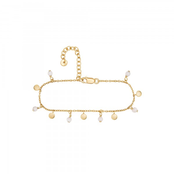 cai Armband 925 Silber vergoldet Chalcedon Plättchen