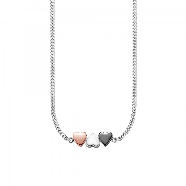 cai Collier 925/- Sterling Silber tricolor Herz