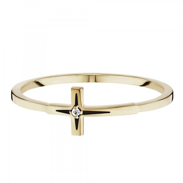 cai Ring 925/- Silber vergoldet Zirkonia Kreuz