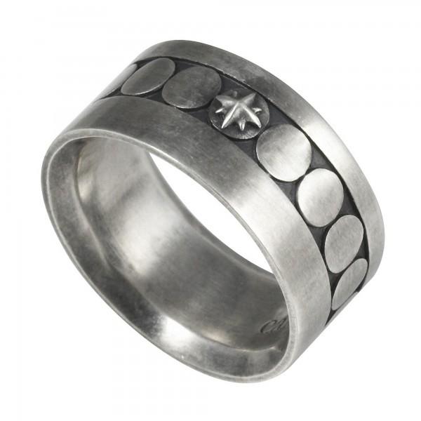 cai Ring 925/- Sterling Silber matt oxidiert Muster Stern