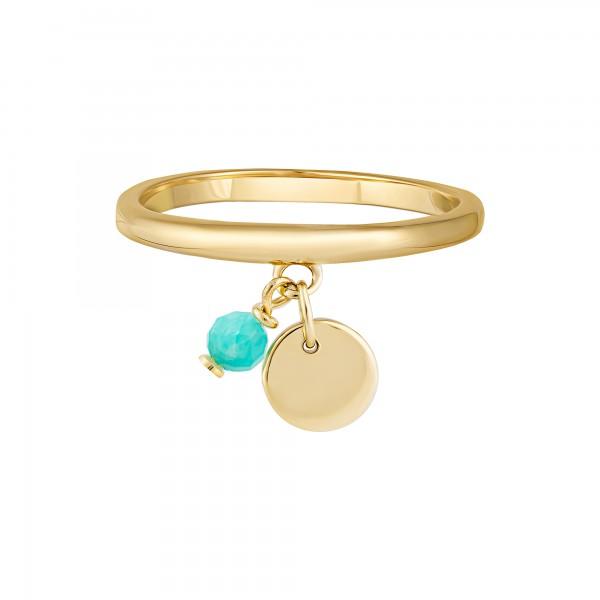 cai Ring 925 Silber vergoldet Anhänger Amazonit Plättchen