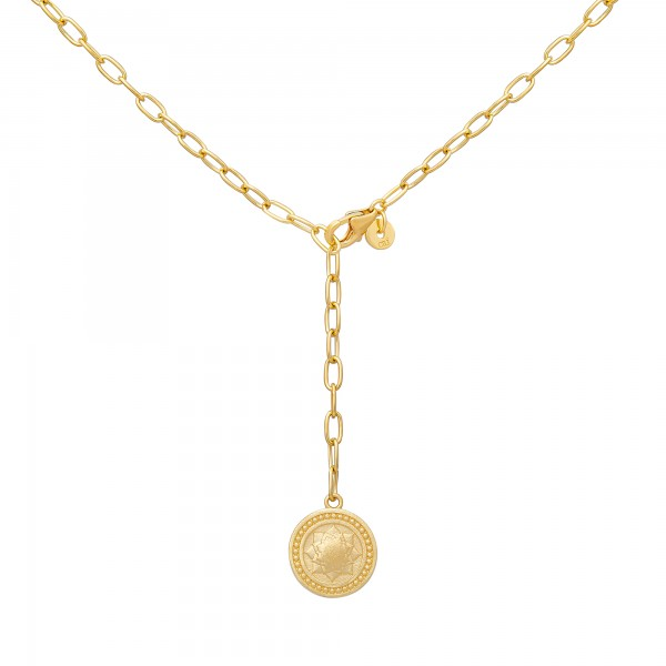 cai Collier 925 Silber Kette Y-Kette vergoldet Münze Mandala Mond