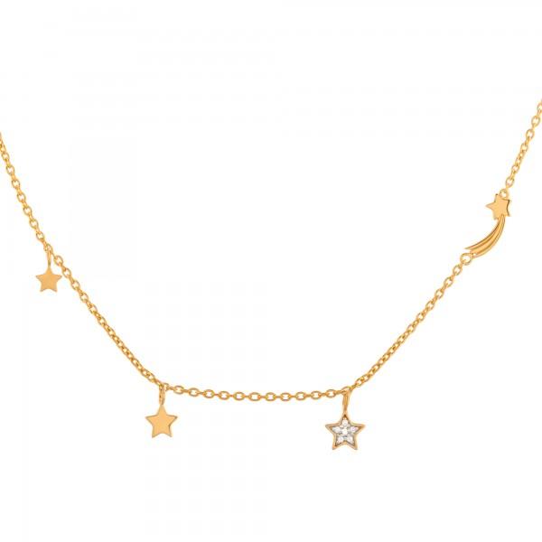 cai Anhänger mit Kette 925/- Sterling Silber vergoldet Sterne Sternschnuppe Zirkonia