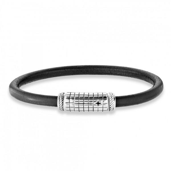 cai Armband 925/- Sterling Silber rhodiniert Lederband