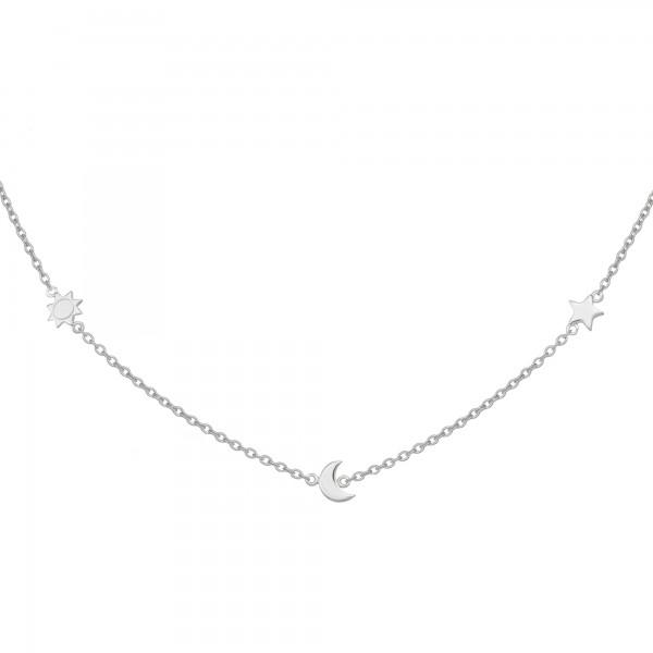 cai Anhänger mit Kette 925/- Sterling Silber rhodiniert Sonne - Mond - Stern