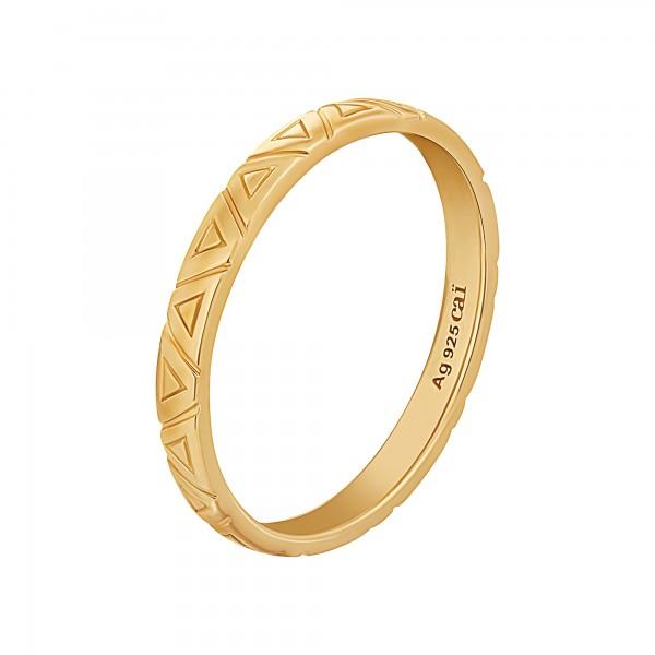 cai Ring 925 Silber vergoldet Dreiecke Stacking