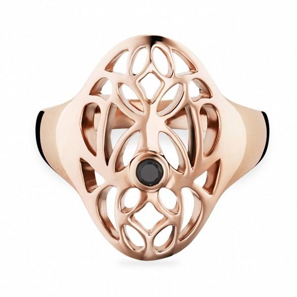 cai Ring 925/- Sterling Silber vergoldet Spinell schwarz