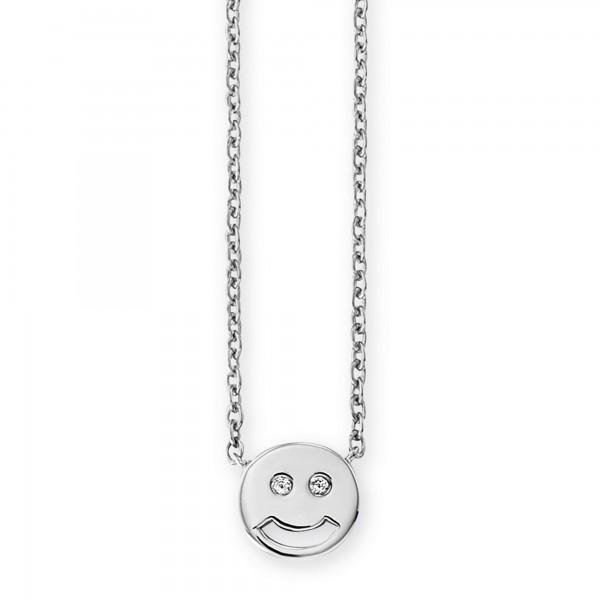 cai Collier 925/- Sterling Silber rhodiniert Zirkonia Emoji