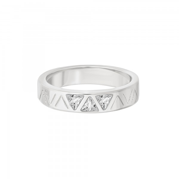 cai Ring 925 Silber rhodiniert mit Zirkonia Dreiecken