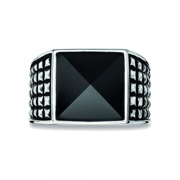 cai Ring 925/- Sterling Silber rhodiniert poliert Onyx