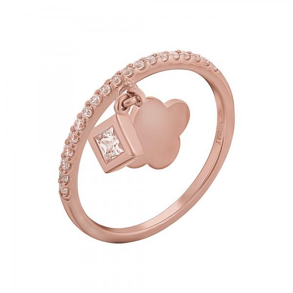cai Ring 925 Silber rosévergoldet mit Anhägern Kleeblatt Zirkonia