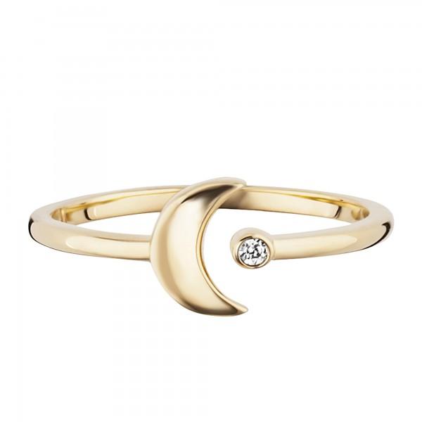 cai Ring 925/- Sterling Silber vergoldet Zirkonia Mond