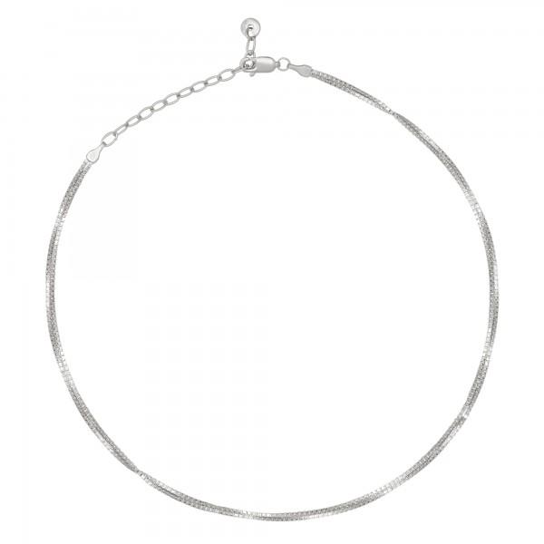 cai Collier Choker 925/- Sterling Silber Venezianer Kette rhodiniert zweireihig