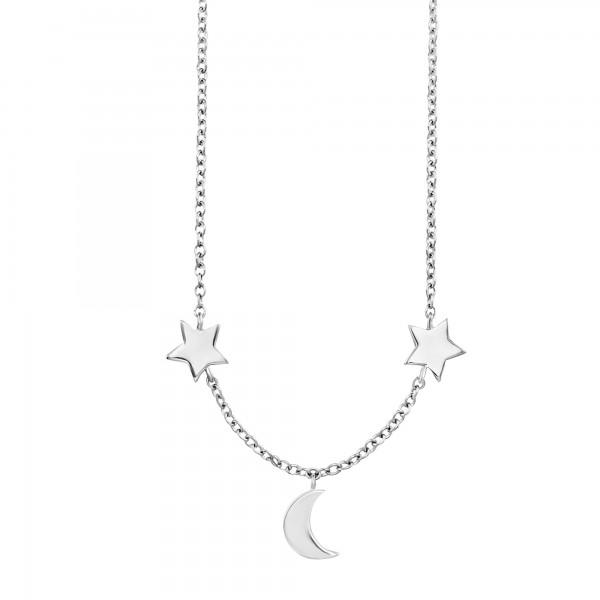 cai 925/- Sterling Silber rhodiniert Mond Sterne Collier