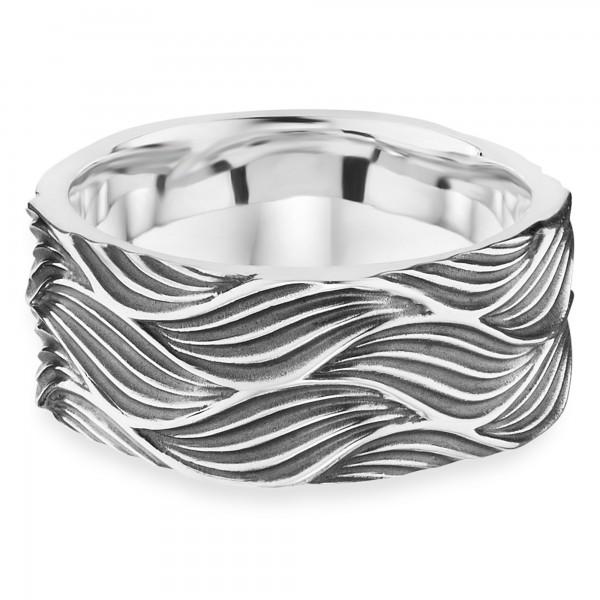 cai Ring 925/- Sterling Silber oxidiert Wellen