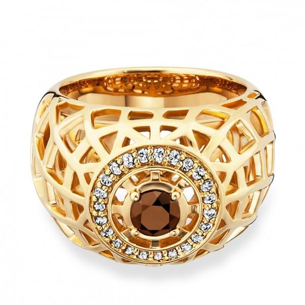 cai Ring 925/- Sterling Silber vergoldet Rauchquarz Topas