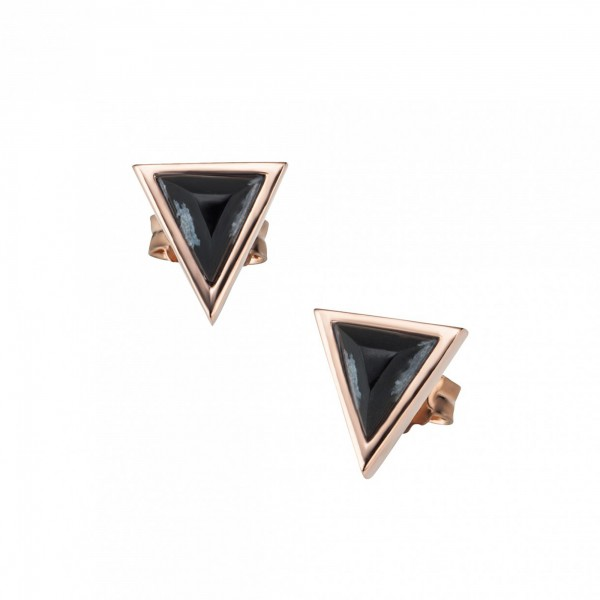 cai Ohrstecker 925/- Silber rotvergoldet Dreieck Obsidianen