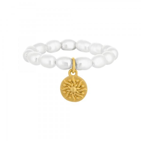 cai Ring 925 Silber vergoldet Perle weiß Münze Sonne