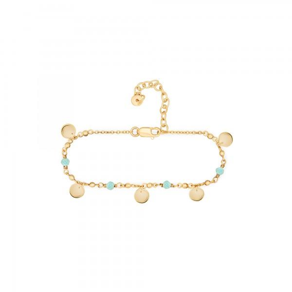 cai Armband 925 Silber vergoldet Amazonit Plättchen