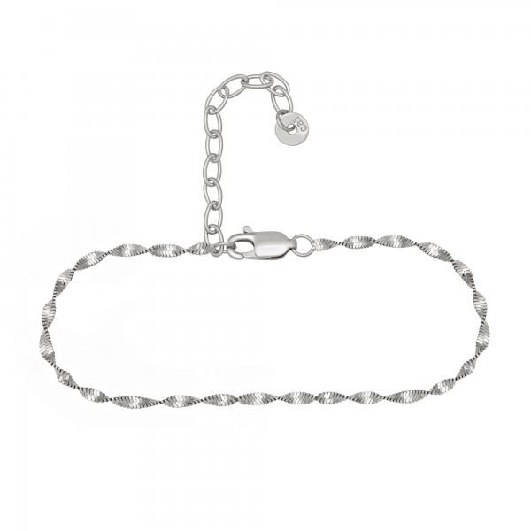 cai Fußkette 925/- Sterling Silber rhodiniert Flachpanzer Kette gedreht