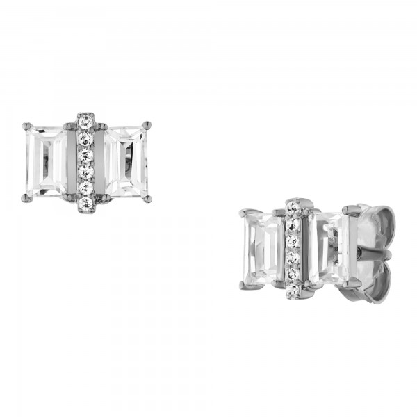 cai Ohrstecker 925/- Sterling Silber rhodiniert mit Weißtopas