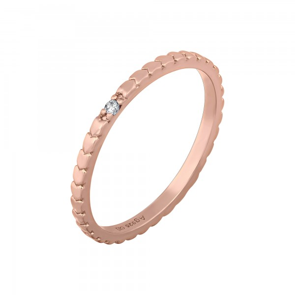 cai Ring 925/- Sterling Silber rosévergoldet Herzen Zirkonia Stacking