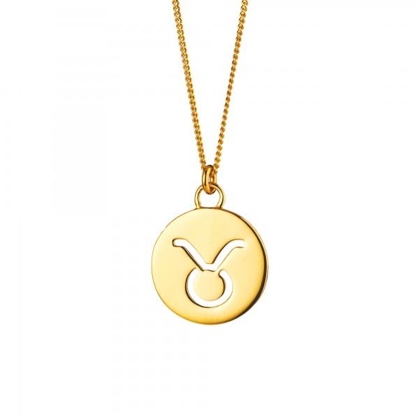 cai Halskette Stier Sternzeichen 925/- Sterling Silber vergoldet