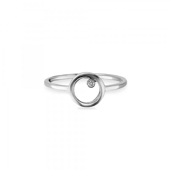 cai Ring 925/- Sterling Silber rhodiniert Zirkonia Kreis