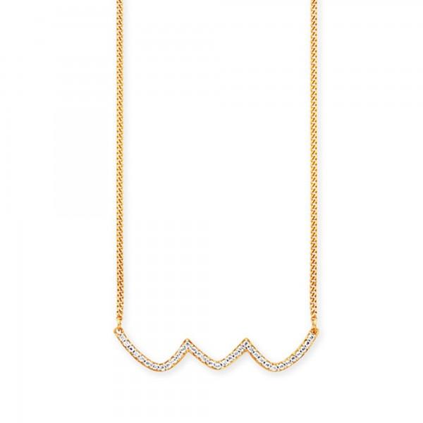 cai Collier 925/- Sterling Silber vergoldet Topas Wellen