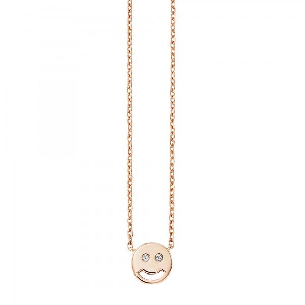 cai Collier 925/- Sterling Silber rotvergoldet Zirkonia Emoji
