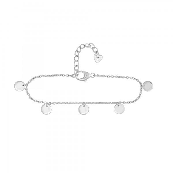 cai Fußkette 925/- Sterling Silber rhodiniert Plättchen Boho