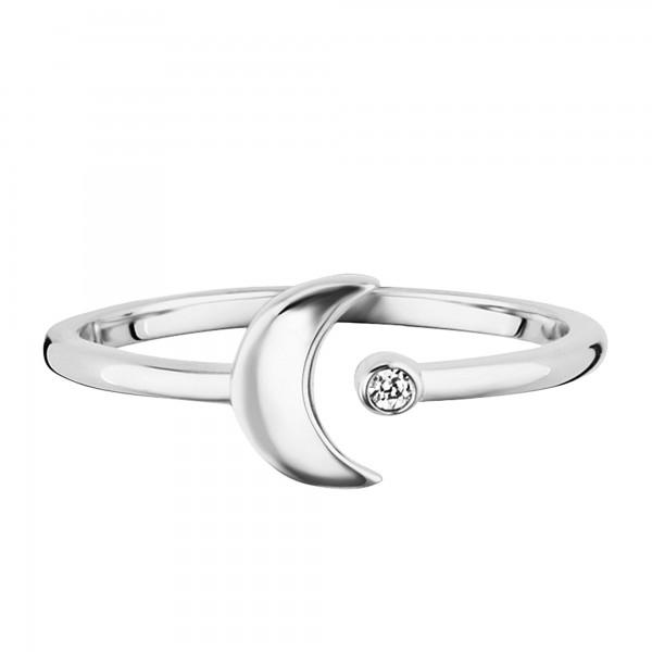 cai 925/- Sterling Silber rhodiniert Zirkonia Mond Ring