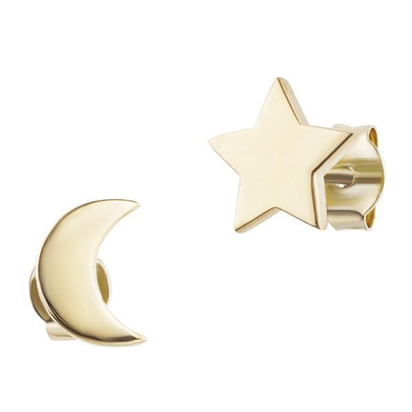 cai Ohrstecker 925/- Sterling Silber vergoldet Mond Stern