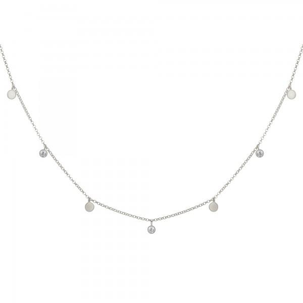 cai Collier 925/- Sterling Silber rhodiniert Anhänger Plättchen Zirkonia