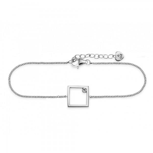 cai Armband 925/- Sterling Silber rhodiniert Rechteck Zirkonia
