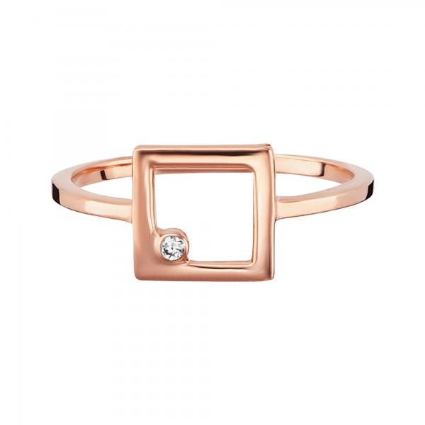 cai Ring 925/- Sterling Silber rotvergoldet Zirkonia Viereck