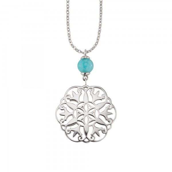 cai Halskette 925/- Sterling Silber rhodiniert Amazonitperle