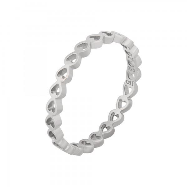 cai Ring 925/- Sterling Silber rhodiniert Herz Stacking