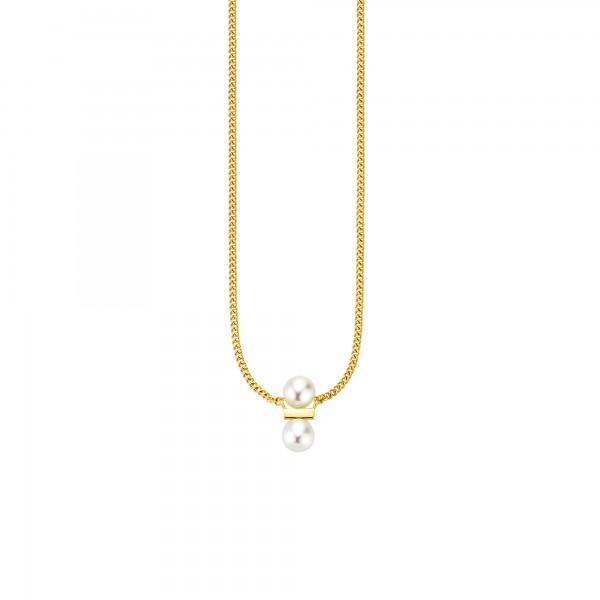 cai Collier 925-/ Sterling Silber vergoldet Süßwasserzuchtperlen