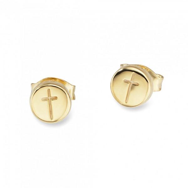 cai Ohrstecker 925/ Sterling Silber vergoldet Kreuz