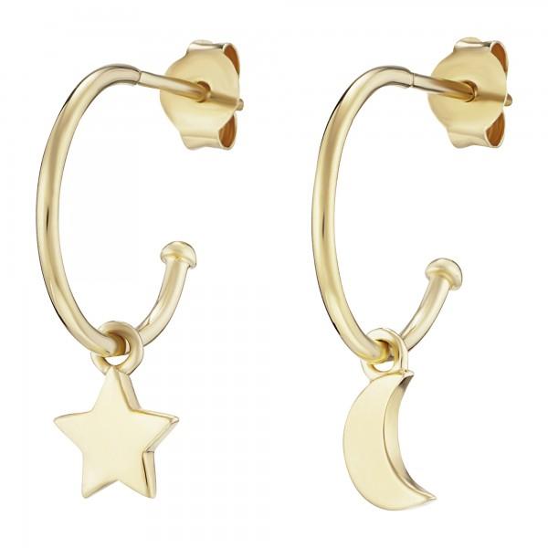 cai Creolen 925/- Sterling Silber vergoldet Mond Stern