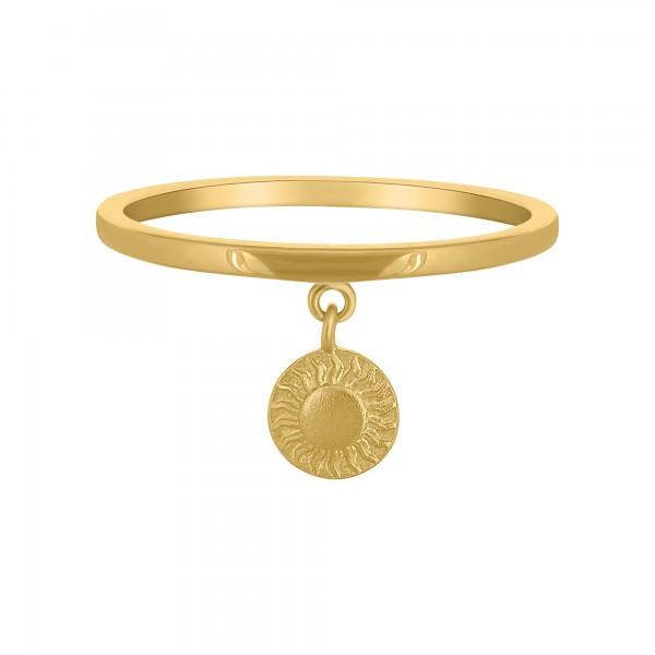 cai Ring 925 Silber vergoldet Anhänger Münze Sonne