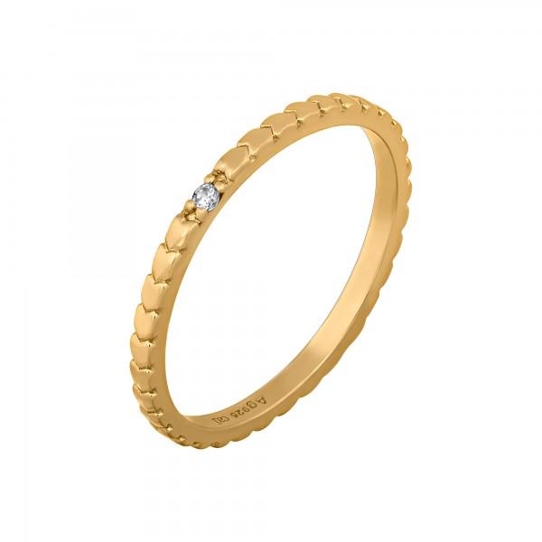 cai Ring 925/- Sterling Silber vergoldet Herzen Zirkonia Stacking