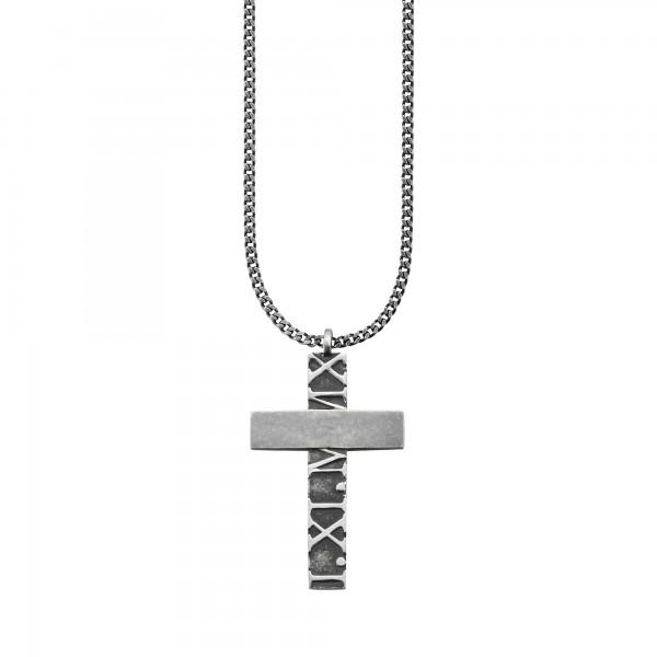 cai Anhänger mit Kette 925/- Sterling Silber matt-oxidiert Kreuz